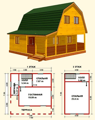 дом 6х6 с террасой и верандой