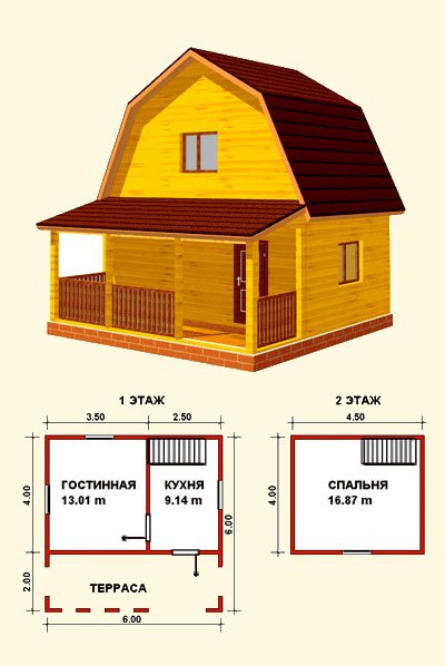 дом 6х6 с террасой
